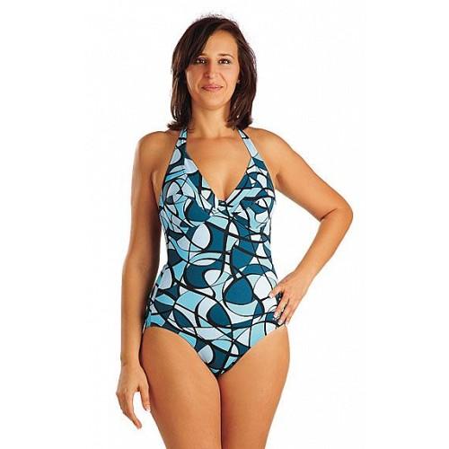 5a71e051139b Litex Blue Circles ladies jednodielne plavky s kosticami